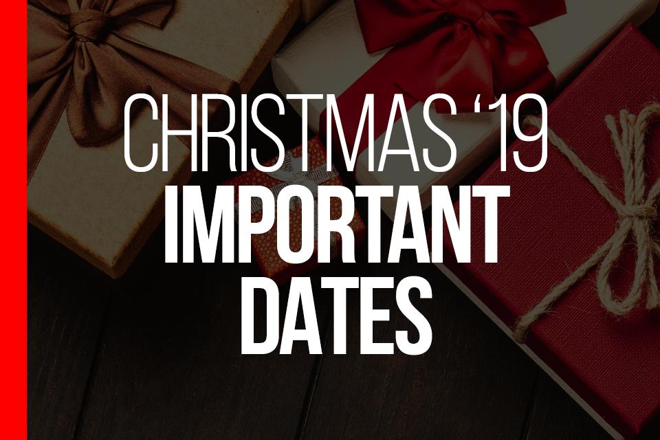 2019 Important Dates